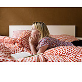 Young Woman, Leisure & Entertainment, Lying, Bed, Book