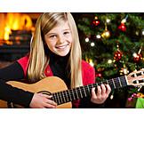 Girl, Christmas, Christmas eve, Playing guitar, Christmas song