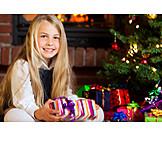 Child, Girl, Christmas, Christmas eve, Christmas present