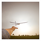 Holiday & Travel, Hand, Model Airplane, Airplane Takeoff