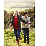 Running, Rural scene, Love couple