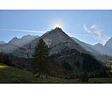 Sun, Mountain, Karwendel mountains