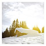 Snowy, Mountain lodge, Winterly