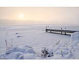 Winter, Winter Landscape, Pier, Winter Sun