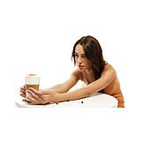 Young woman, Latte macchiato