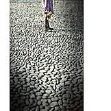 Solitude & loneliness, Child, Standing, Alone, Cobblestone
