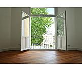 Fenster, Geöffnet, Immobilie, Ausblick, Mietwohnung