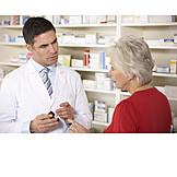 Pharmazie, Apotheke, Kundin, Apotheker