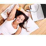 Young Woman, Woman, Domestic Life, Laptop, Relax