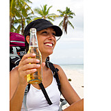 Young Woman, Indulgence & Consumption, Beer, Vacation, Beer Bottle