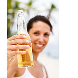 Young Woman, Indulgence & Consumption, Beer, Beer Bottle, Cheers