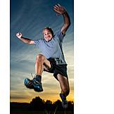 Man, Senior, Active Seniors, Jump, Active