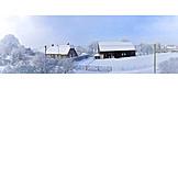 Winter, Farm, Barn