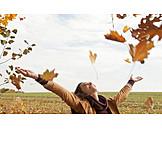Junge Frau, Glücklich, Herbst, Lebensfreude