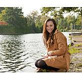 Young woman, Autumn, Walk