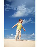 Junge, Kind, Begeistert, Wind