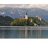 Slovenia, Bled lake, St mary's church