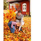Mother, Autumn, Daughter, Rural Scene