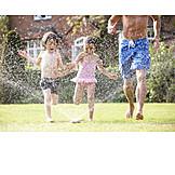 Garden, Summer, Playing, Splashing