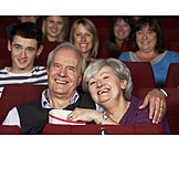 Senior, Senior, Leisure & Entertainment, Movie Theater, Couple, Popcorn