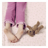 Child, Childhood, Teddy, Foot