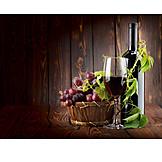 Wine glass, Still life, Grape, Wine bottle