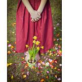 Girl, Spring, Daffodil