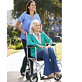 Old Nurse, Rehabilitation, Wheelchair, Health Care