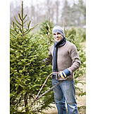 Man, Christmas, Christmas Tree