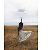Woman, Rural Scene, Breezy, Vintage