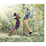 Couple, Happy, Love, Jump, Jumping