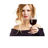 Junge Frau, Genuss & Konsum, Wein, Rotwein