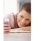 Young Woman, Mobile Phones, Sms