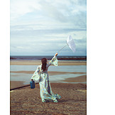 Young Woman, Stormy, Umbrella, Breezy