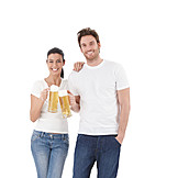 Young Woman, Young Man, Eating & Drinking, Toast
