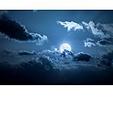 Sky only, Full moon, Cloudy sky