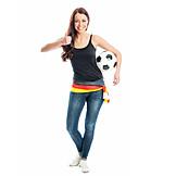 Young woman, Woman, Soccer, Soccer fan