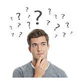 Young Man, Thinking, Question Mark, Questioning