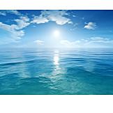 Sun, Horizon, Water, Sea