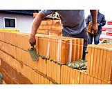 Hausbau, Baustelle, Ziegelmauer, Maurer