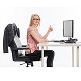 Junge Frau, Büro & Office, Schreibtisch, Super