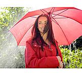 Young Woman, Umbrella, Breezy, Rain Weather
