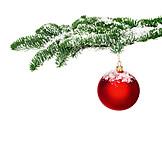 Weihnachten, Tannenzweig, Christbaumkugel