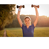 Woman, Sporting, Dumbbell training