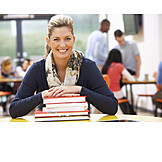 Woman, Books, Stacking books, Lecturer