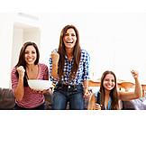 Watching tv, Friends, Cheering, Girls night