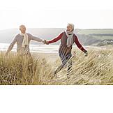 Senior, Couple, Walk, Cheerful