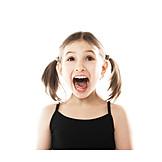 Girl, Enthusiastic, Shouting, Horrified