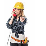 Young woman, Hotline, Building worker