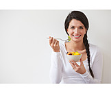 Woman, Healthy diet, Fruit salad
